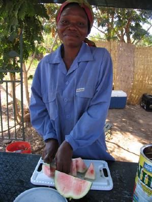 Angeline preparing food