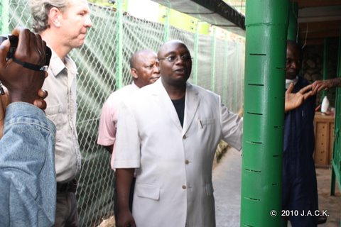 Provincial Minister of Environment handing over chimps
