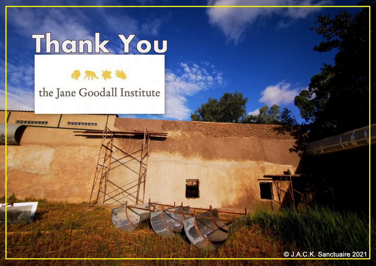JGI supports a building project for the chimps of Nursery 1